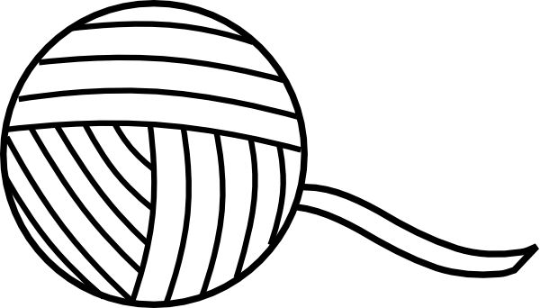 knitting Coloring Pages | ball of yarn outline clip art