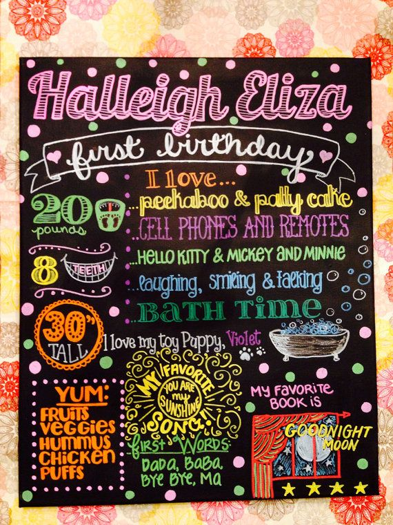 Girl Theme - Hand Lettered Baby's First Birthday Custom Painted Chalkboard 16x20 inch Canvas - NOT a print on Etsy, $55.00