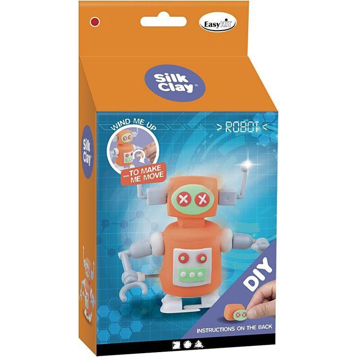 Met dit set van Silk Clay heb je alles in huis om een grappige robot van klei te maken. Door de instructies in de verpakking is het vrij eenvoudig om de robot te maken. Het leuke aan de robot is dat je hem ook nog kan laten bewegen door hem op te winden. Geschikt voor jongens en meisjes vanaf vier jaar.   Afmeting: 120x230x120 mm - Silk Clay Creotime DIY robots: 110 gram