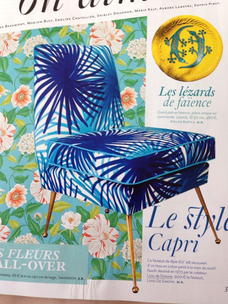 Le fauteuil ! Style 60 recouvert d'un tissu en coton peint à la main motif Fuochi dessiné en 73 par LIVIO DE SIMONE - mag AD Juin 14