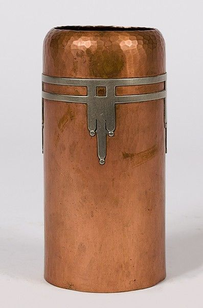Lot:385: Roycroft Silver On Copper Vase , Lot Number:385, Starting Bid:$50, Auctioneer:Cowan's Auctions, Inc., Auction:385: Roycroft Silver On Copper Vase , Date:05:00 AM PT - Jan 12th, 2012