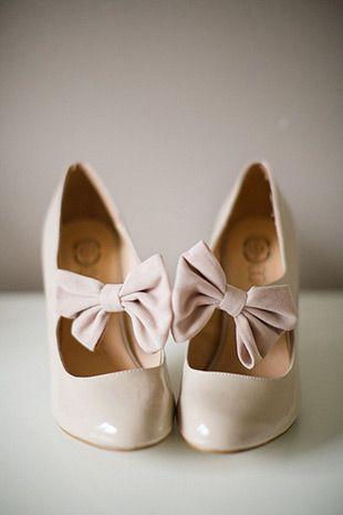 cream bow bridesmaids shoes | onefabday.com