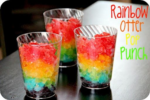 "Otter pops layered to make rainbow otter pop ""punch"""