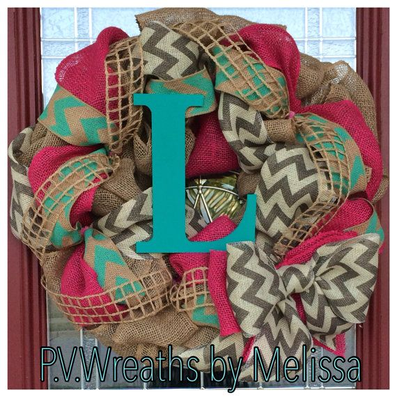Hey, I found this really awesome Etsy listing at https://www.etsy.com/listing/194326127/pink-and-turquoise-chevron-wreath-burlap