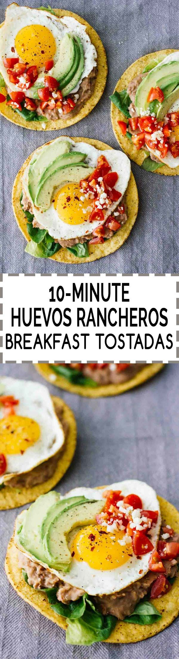 10-Minute Huevos Rancheros Breakfast Tostadas! Vegetarian and perfect for a quick and easy breakfast, lunch, or even dinner. Head over to www.JarOfLemons.com for the SUPER easy recipe, or click through to find out more about the easy-to-make beans used and more tostada recipes! #ad