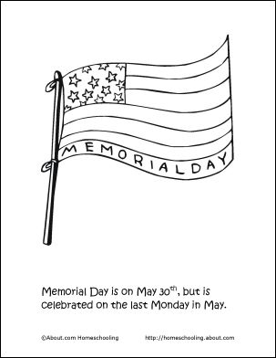 Memorial Day Printables: Memorial Day Coloring Page - Flag