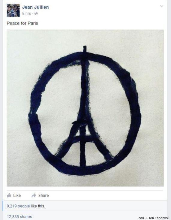 """""""Peace for Paris"""", le dessin qui émerge sur les réseaux sociaux"""