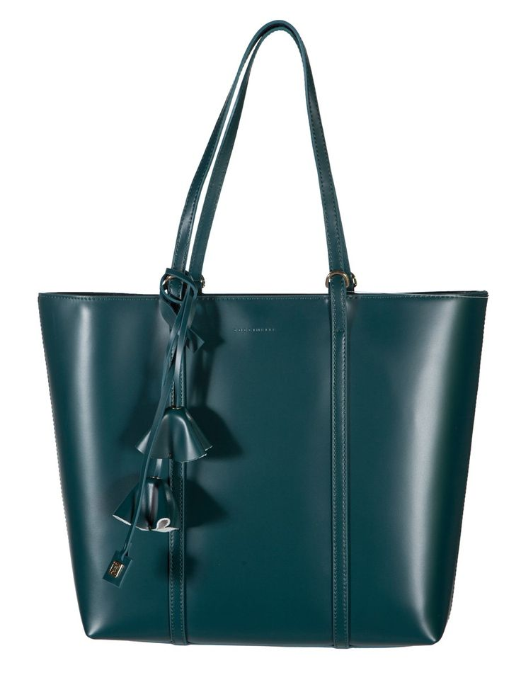 Coccinelle Petrol Calf leather Flower charm Tote handbag