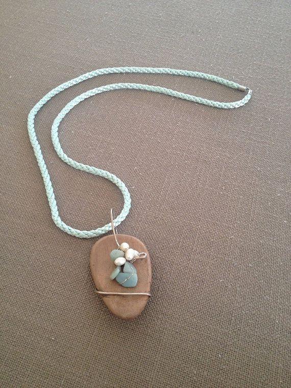 Wooden Pendant Necklace Aqua Gemstone Necklace by YellowByZoe
