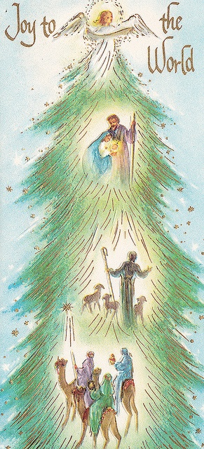 I love that the Christmas tree depicts the birth of Christ, and includes Joy. Good one.