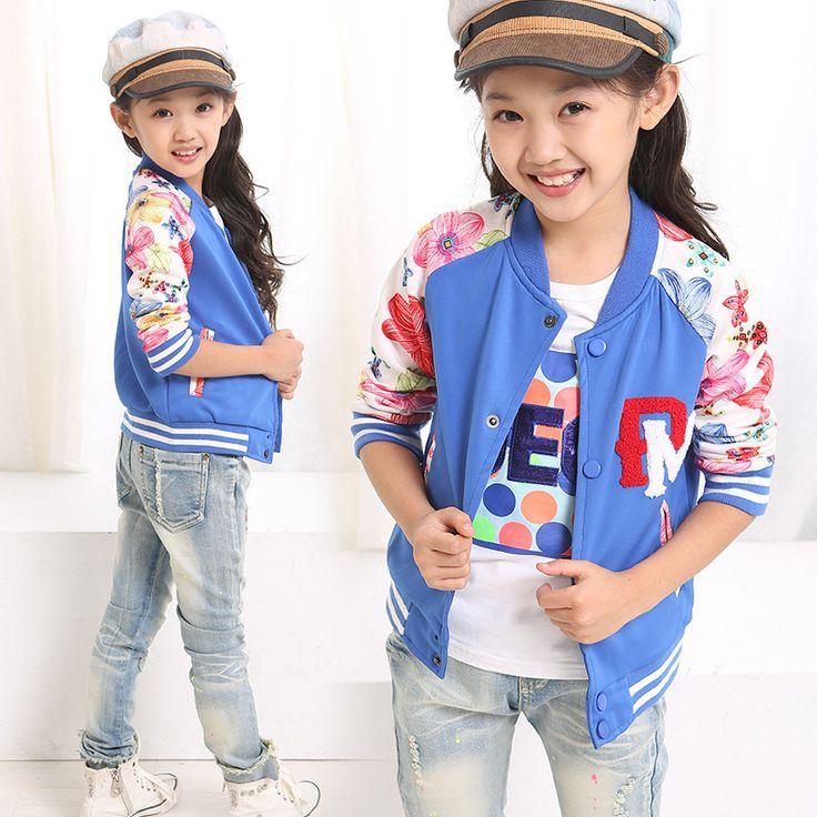5-13 Leeftijd 2015 nieuwe lente jas voor meisjes mode roze tiener kleding bloem kids jas sport baseball jacket big meisje kinderen