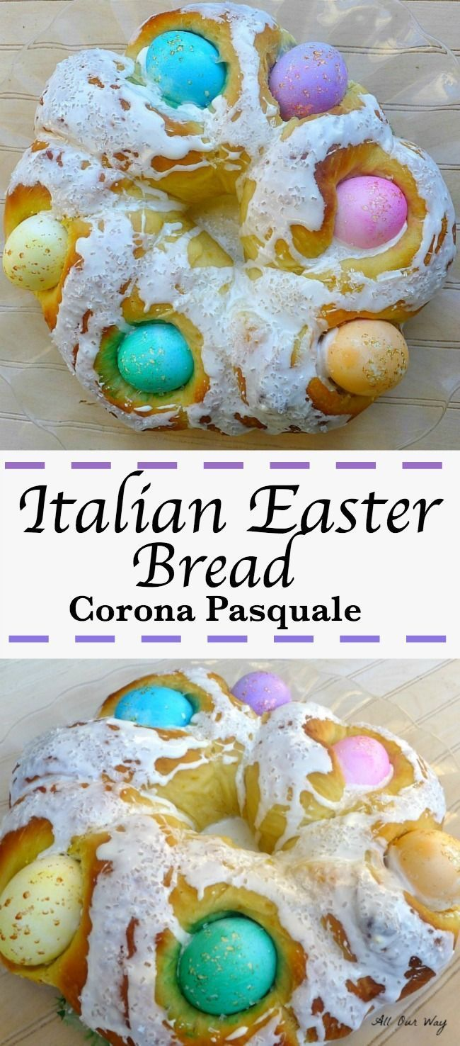 Italian Easter Bread with colored Eggs is made with a rich brioche type bread that nestles raw colored eggs and the eggs bake along with the bread. #Easter_bread, #Italian_Easter_bread, #brioche, #sweet_bread, #egg_bread, #colored_eggs_bread, #Italian_bread, #breakfast_bread