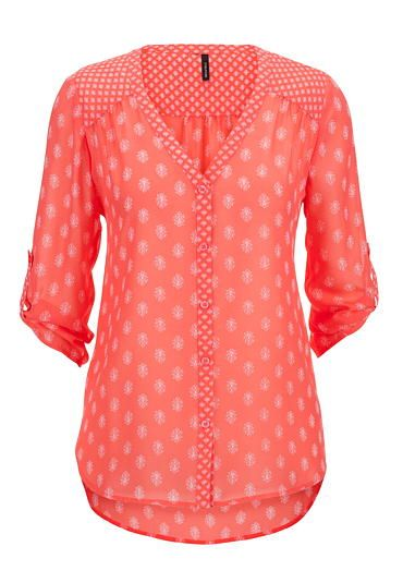 floral patterned v-neck chiffon button down (original price, $29) available at #Maurices