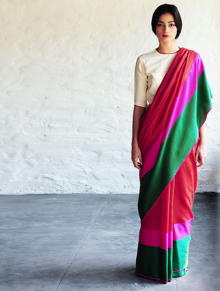 Red Fuschia Green Sultanah Silk Saree By Raw Mango Sarees Woven Mashroo- $365