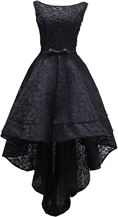 43b394d2196ad3 Amazon.com  Rongstore Women s Sleeveless Beaded High Low Prom Dress Lace  Evening Gown Black US16  Clothing