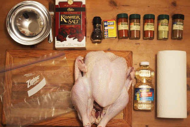 After that, the night before you fry the turkey, you should marinate or brine it to give it more flavor. We made a delicious spicy rub: