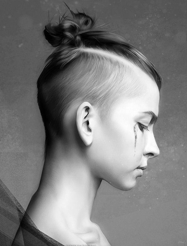 Artist: Gerardo Justel {contemporary illustration woman head female profile…