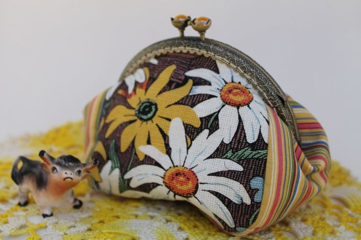 Coin Purse Fresh from the Farm - Bull in a field of flowers