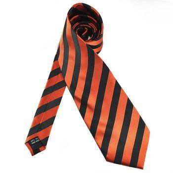 PenSee Mens 100% Polyester Silk Tie Black & Orange Stripe Necktie #04 (offer Wholesale and OEM)