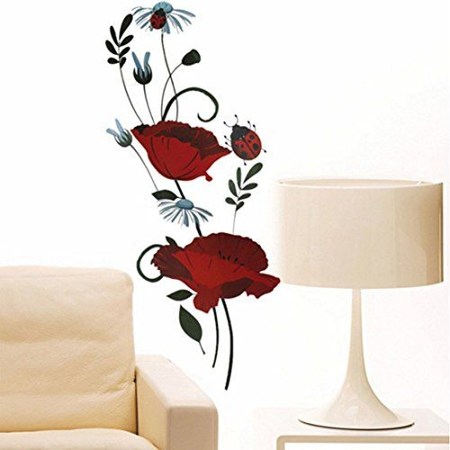 Red Flowers Green Leaves Wall Decal Home Sticker House Decoration WallPaper Removable Living Dinning Room Bedroom Art Picture Murals DIY Stick Girls Boys kids Nursery Baby Decoration ** Want to know more, click on the image.