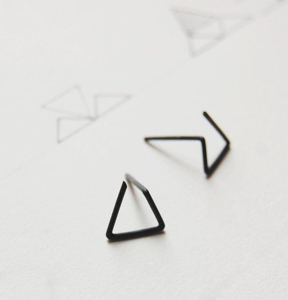 Oxidized silver geometrics stud earrings Les géométriques by AgJc, 28.00