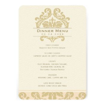 "Elegant and formal wedding dinner menu cards feature an ornate flourish and damask pattern design. Personalize with your event date and menu details. Our ""Old Hollywood Glamour"" wedding stationery features opulent champagne gold flourishes that frame the elegant gold text. Colors include: champagne gold and light blush pink / peach. #wedding #vintage #damask #old #hollywood #glamour #elegant #frame #flourish #regal #glamorous #glam #fancy #theme"