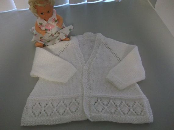 Hand Knit White Baby Sweater Cardigan by CozyTurtle on Etsy