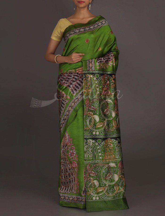 Tapti Madhubani Inspired #Kantha Work Pure #SilkSaree