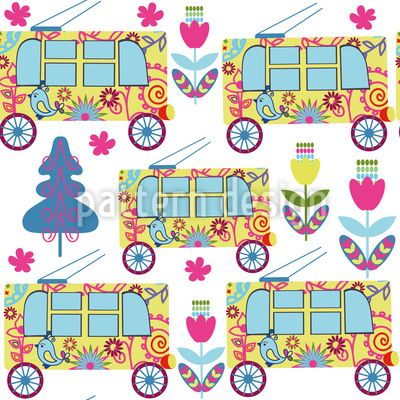 #trolleybus #pattern #city #flowers #tree #fir #transport
