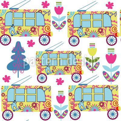 #trolleybus #pattern #city #flowers #tree #fir #transport