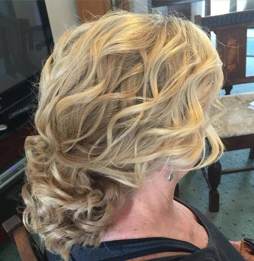 loose curly updo for older women