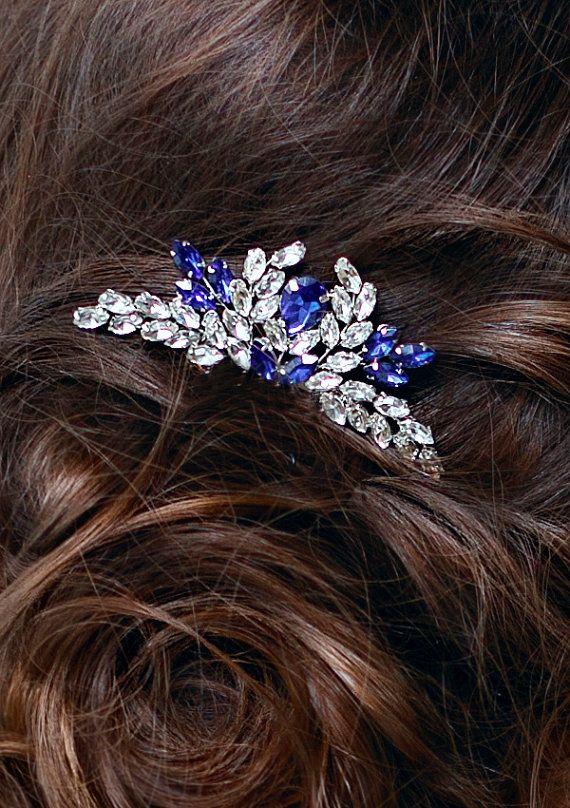 Blue Bridal hair comb Something blue Wedding hair comb Navy blue Wedding Hair accessory Rhinestone hair comb Sapphire blue Crystal hair comb