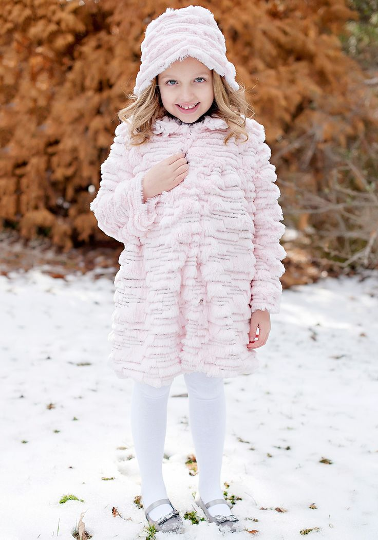 Children's Pink Faux Fur Sequined Coat & Hat