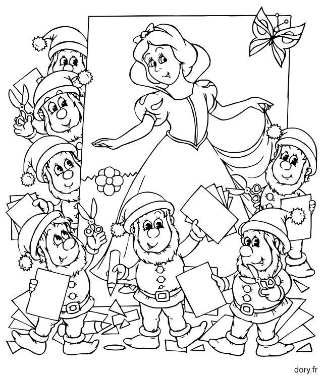 Dessin à imprimer : Blanche-Neige et les sept nains
