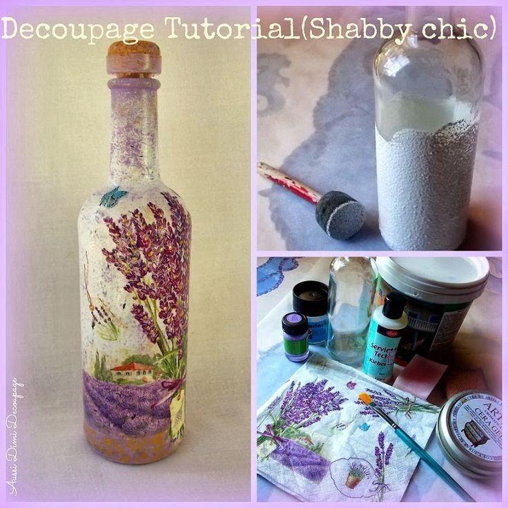 Aussi Dimi decoupage: Decoupage Tutorial (Shabby Chic Bottle)