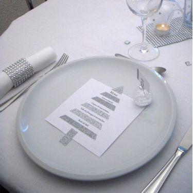 Thème Noël : menu sapin en glitter tape