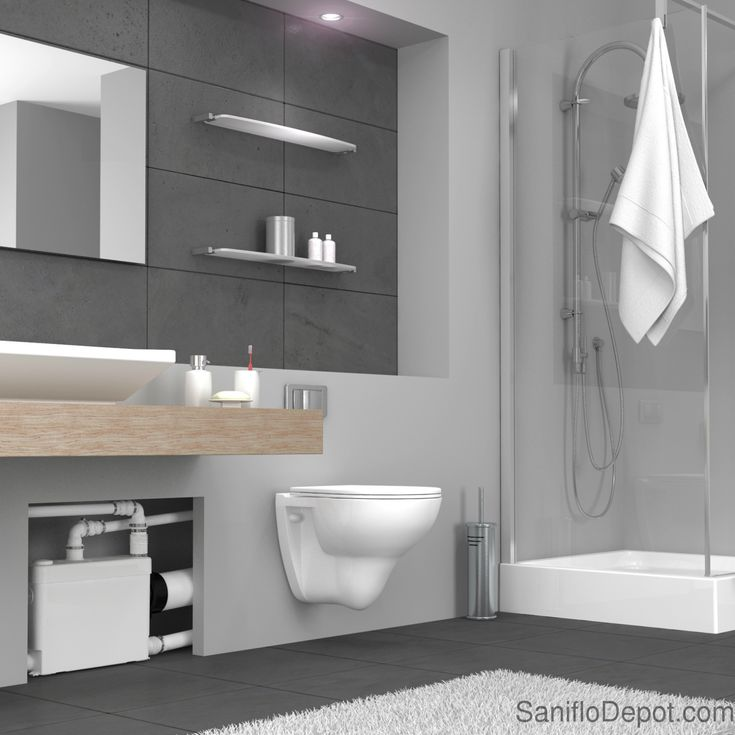 SanifloDepot | Upflush Toilets : Saniflo SaniPACK | Macerating Upflush Toilet -- like the recessed/shelf created for macerator.