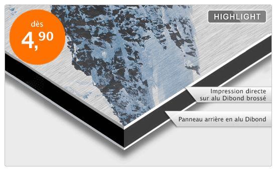 Impression photo grand format sur alu brossé (dibond) ou acrylique.