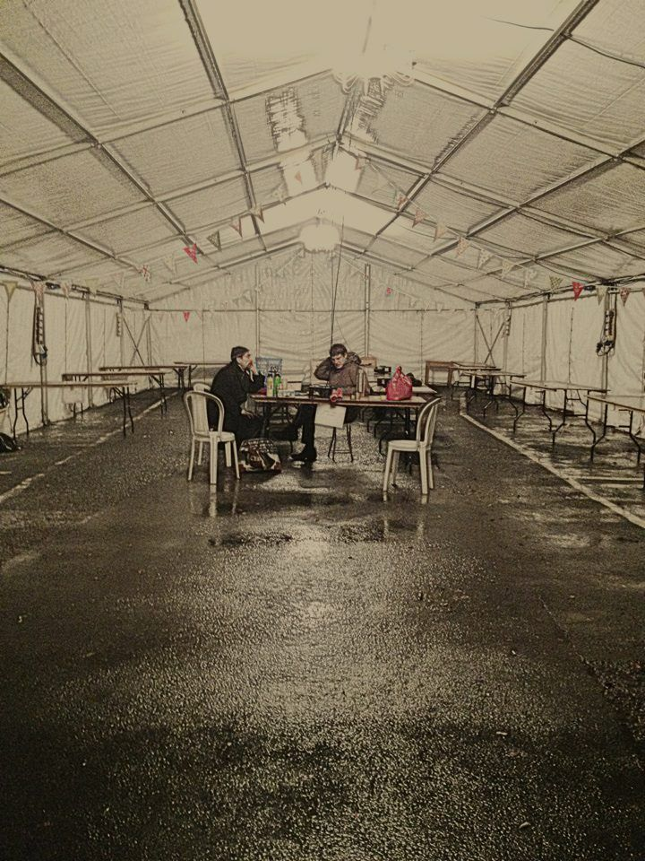 The Marquee the night before. At Hay Does Vintage in Hay-on-Wye.