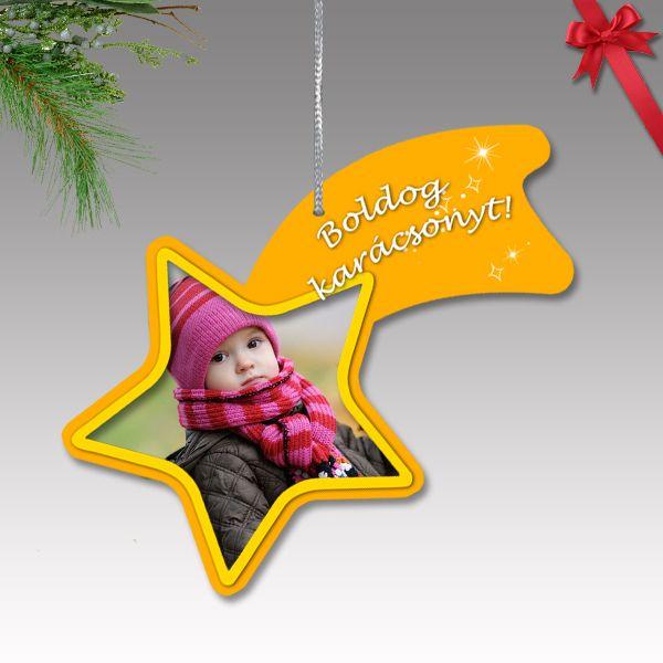 Fényképes karácsonyfa dísz - műanyag, üstökös