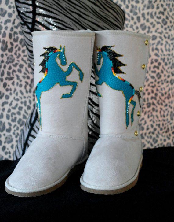 Native Boots by Rez Hoofz Size 9 by REZHOOFZ on Etsy, $89.95