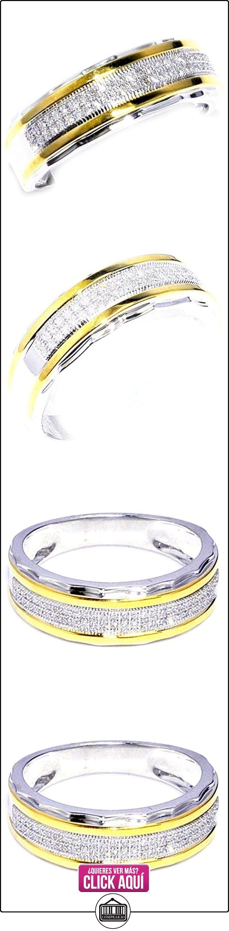 Midwest joyas hombre Diamante Anillos de Boda 1/5cttw Dos Tonos Anillo Oro Blanco Diamante 7,5mm de ancho banda (0.2quilates)  ✿ Joyas para hombres especiales - lujo ✿ ▬► Ver oferta: https://comprar.io/goto/B00SDMAQXS