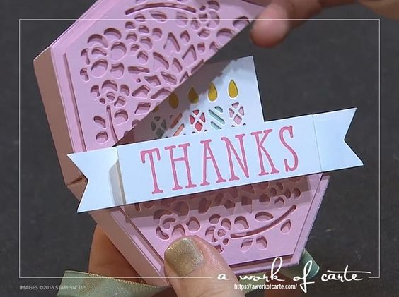 2017 Stampin' Up Occasions Sneak Peek: Gift of Thanks Box made from the Window Box Thinlits Dies. Learn how to alter the pieces so the box opens on a hinge!