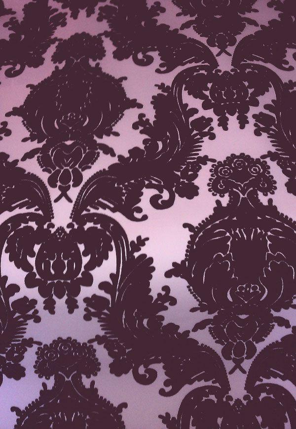 Victorian Flocked Velvet Wallpaper - Tone on Tone Purple [WFLO-3001] : Designer Wallcoverings™