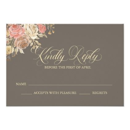 Coral & Tan Rose Floral Wedding Reply Card - Brown - floral style flower flowers stylish diy personalize