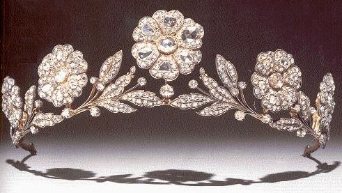 Strathmore Rose Tiara given to Elizabeth Bowes-Lyon (future Queen Elizabeth, the Queen Mother) by her father, the Earl of Strathmore, for her wedding to the Duke of York (future King George VI) in 1923 - it was an antique when the Earl bought it.
