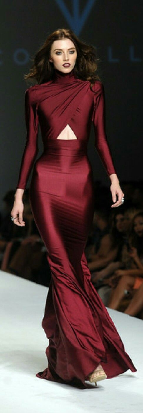 Michael Costello Burgundy Gown.                                                                                                                                                                                 More