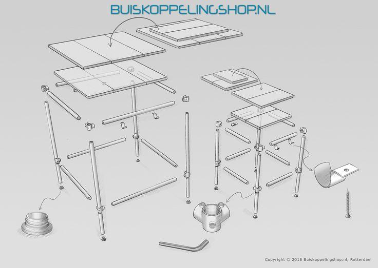 Wij raden aan om de tafel en barkruk in buisdiameter 33,7mm of 42,4mm  uit te voeren. Voor deze meubelstukken kunnen de afmetingen zelf worden bepaald. De benodigde buiskoppelingen staan aangegeven. In plaats van de kapbeugels kunnen ook oogdelen enkele lip worden gebruikt voor de bevestiging van de houten delen.   www.buiskoppelingshop.nl