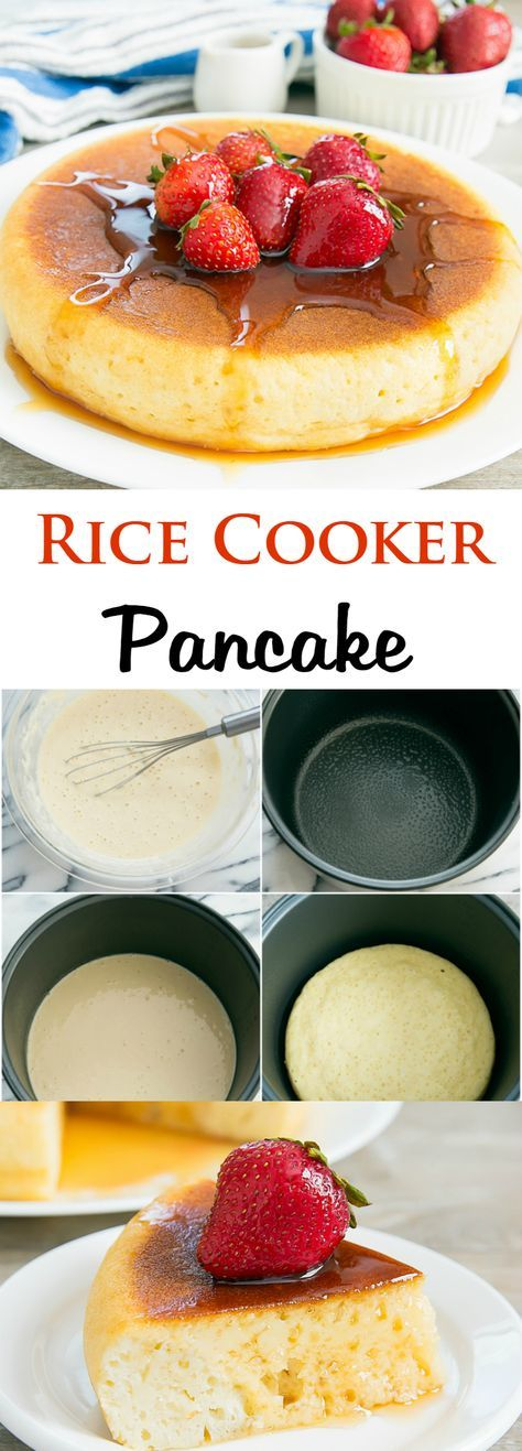 Rice Cooker Pancake! This giant pancake is made in the rice cooker. No need to stand over the stove and flip your pancakes. Let the rice cooker do all the work.