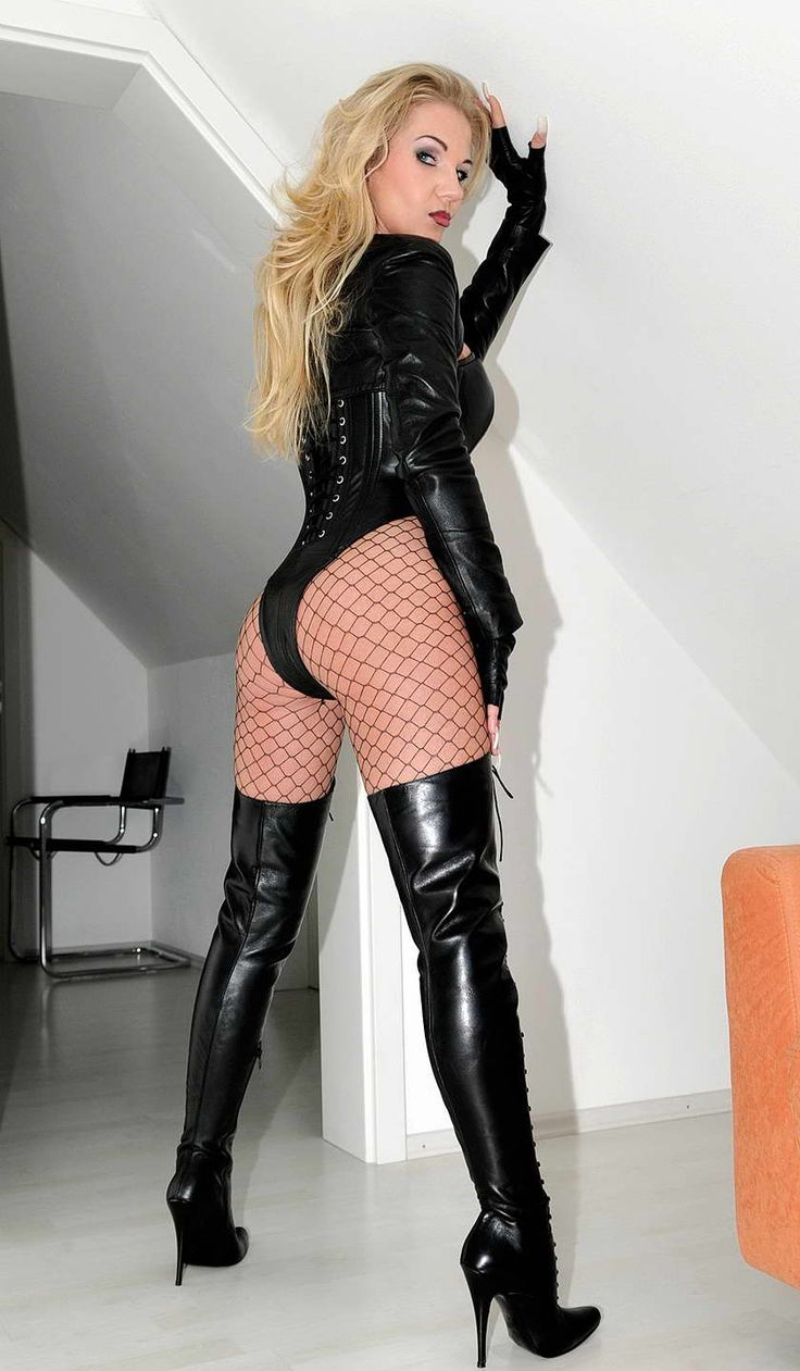Fetish queen leather boots heels